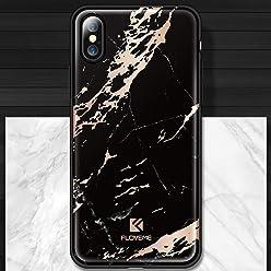 Girlscases® | iPhone XS Hülle, iPhone X / 10 Hülle Marmor Schutzhülle aus Silikon | Marmor/Marble Aufdruck/Motiv Glänzend | Farbe: Schwarz/Rose-Gold