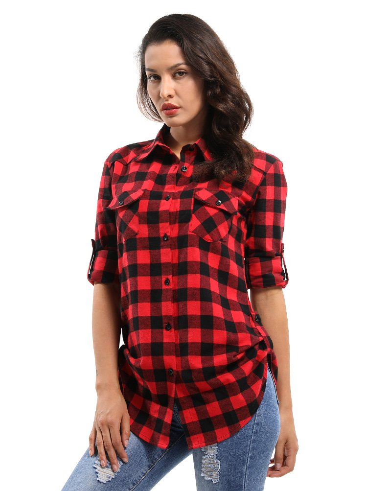 OCHENTA Women's Mid Long Style Roll Up Sleeve Plaid Shirt D056 Black Red L