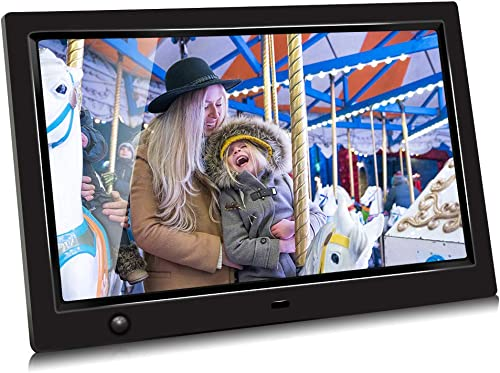 GRC 10.1 Inch IPS 1080P HD Display Digital Photo Frame with Motion Sensor and Remote Control, Video Player Stereo MP3 Time, Digital Picture Frame Support USB SD Slot