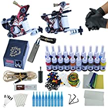 Fashionzone Tattoo Kit 2 Machine Gun Set Equipment Power Supply 20 Color Ink