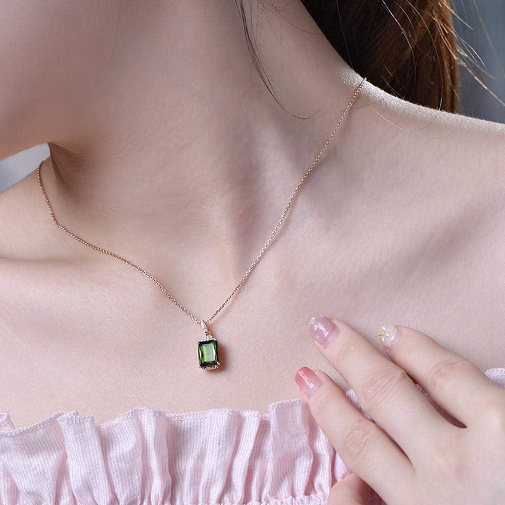 XTMM Collares Pendientes de Diamantes con Piedras Preciosas de Color Verde Esmeralda Cuadrado Cristal de Oro Rosa para Mujer joyería con Anillo de Gargantilla joyería