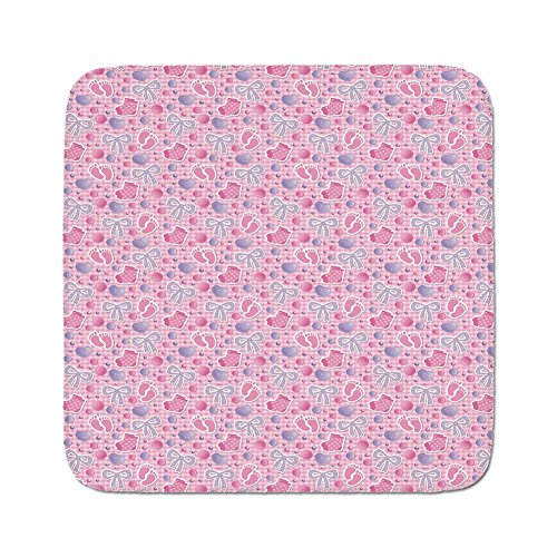 Cozy Seat Protector Pads Cushion Area Rug,Baby,Bows and Bootes Buttons Ribbon Infant Elements Birthday Theme on Tartan Display Decorative,Pale Pink Mauve,Easy to Use on Any Surface ()