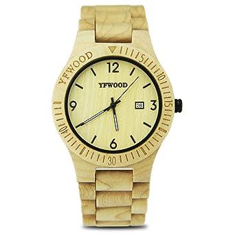 5deb7120b7 YFWOOD 木製腕時計 アナログ クオーツ 木目 ウッドウォッチ カレンダー付き 金属アレルギー対策 高級 話題性
