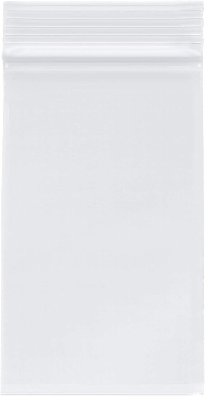 "Plymor Heavy Duty Plastic Reclosable Zipper Bags, 4 Mil, 3"" x 5"" (Pack of 500)"