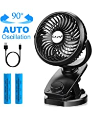 CAVN Stroller Fan USB or Rechargeable Battery Operated, 2019 Newest 40 Hours Portable Desk Personal Fan, Mini Table Auto Oscillating Silent Fan for Car Tent Camping Desktop Room Office Outdoors