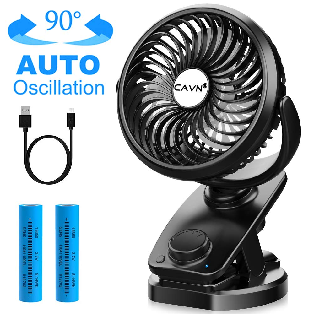 CAVN Clip On Stroller Fan Battery Operated, Portable 40 Hours Desk Fan USB Powered or 4400 mAh Rechargeable Battery, Auto Oscillating Personal Mini Fan for Baby Stroller Crib Car Office Outdoor
