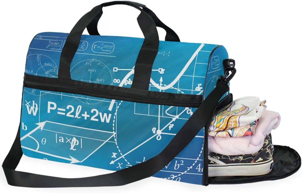 Geometry Formula Sports Gym Bag with Shoes Compartment Travel Duffel Bag for Men Women