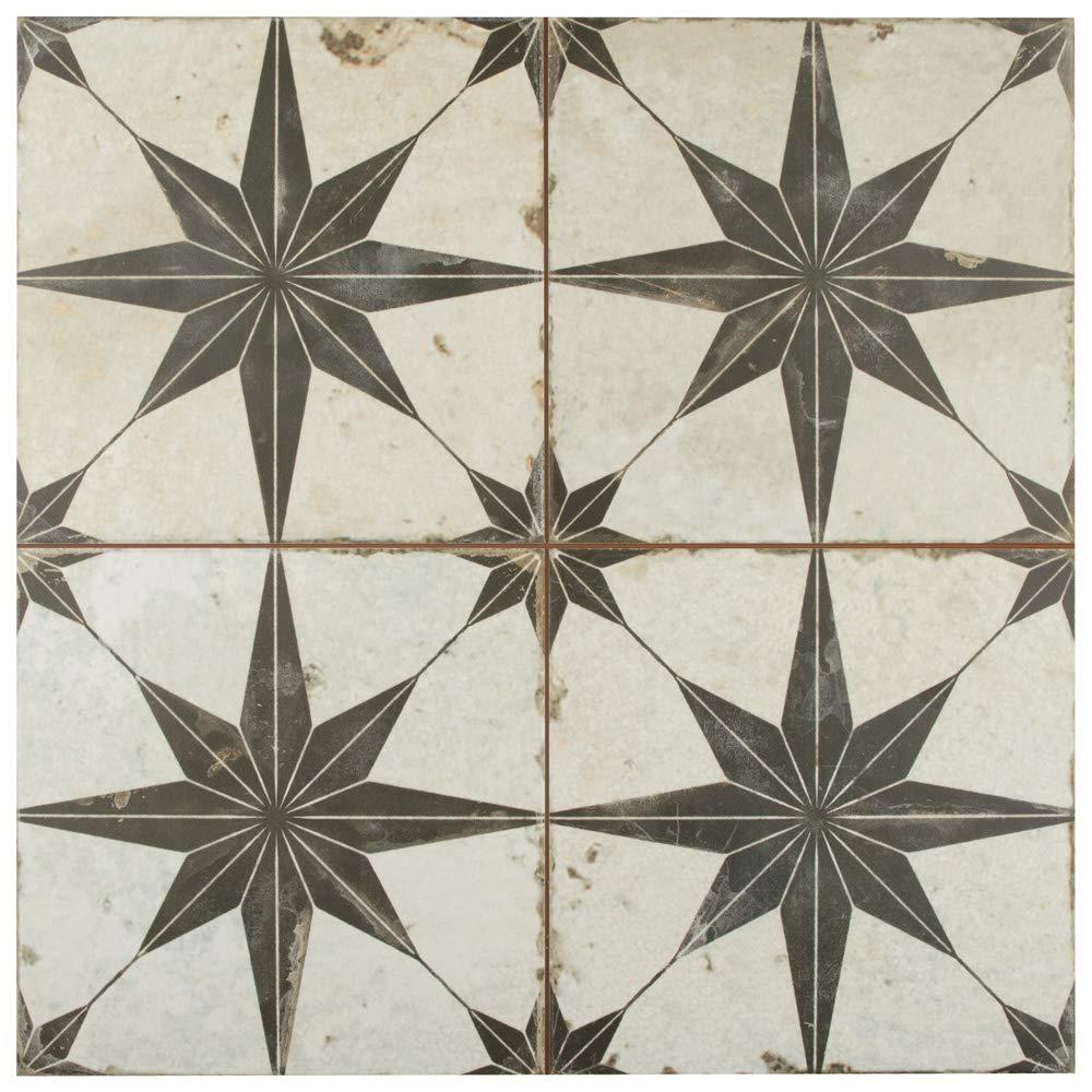 SomerTile FPESTRN Reyes Astre Ceramic Floor and Wall, 17.625'' x 17.625'', Nero Tile, Cream/Beige/Black, 5 Piece by SOMERTILE