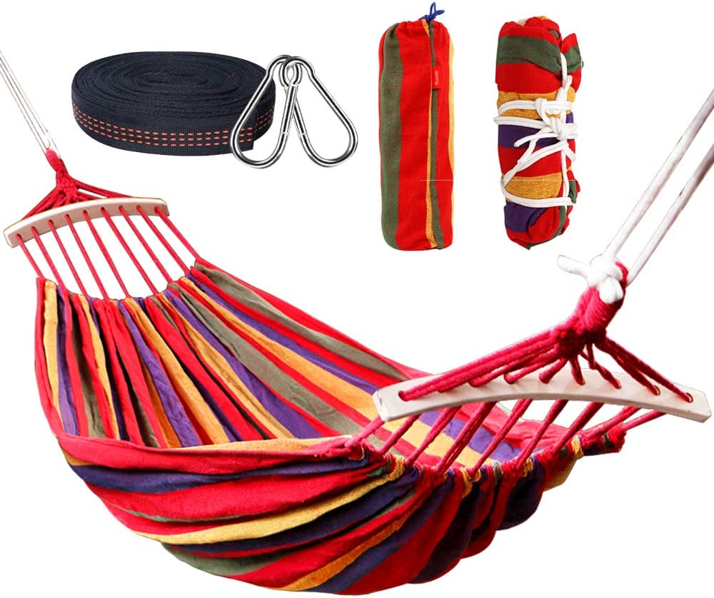 Rusee Double 2 Person Cotton Fabric Canvas Travel Hammocks 450lbs Ultralight Camping Hammock Portable Beach Swing Bed with Hardwood Spreader Bar Tree Hanging Suspended Outdoor Indoor Bed: Sports & Outdoors