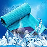 LESVIEO Evaporative Cooling Towels, Instantly Cold Soft Ice Towels for Sports, Fitness, Yoga, Pilates, Travel, Camping, Lake Blue.