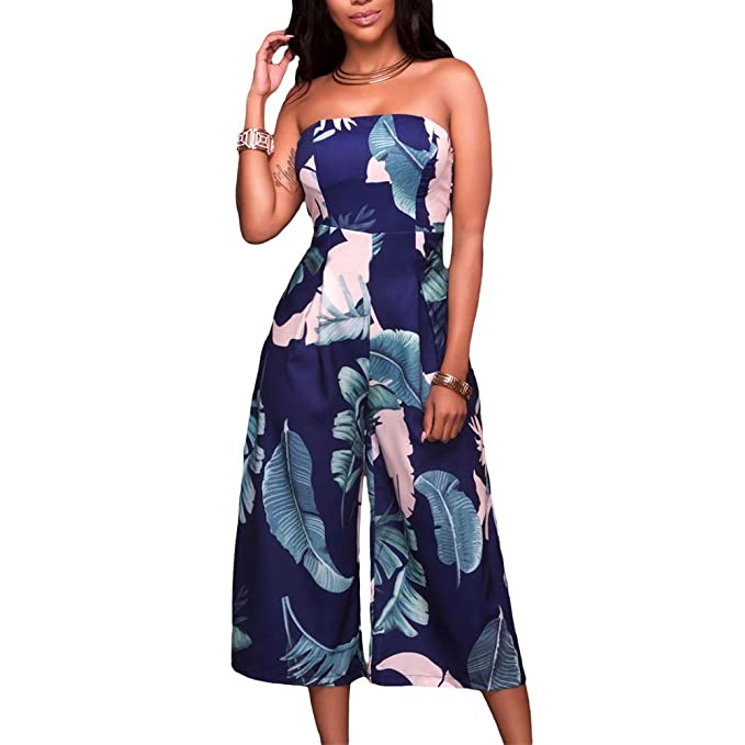 24ba235f8540 Eiffel Women s Off Shoulder Strapless Leaf Print Capris Jumpsuit Rompers  Wide Leg Pant Blue