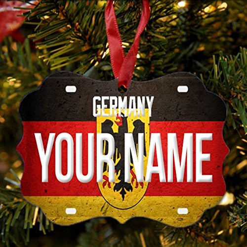 BRGiftShop Personalize Your Own License Germany Plate Christmas Tree Ornament