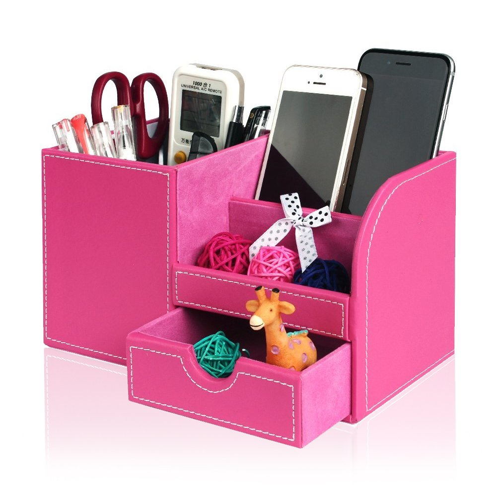 Leather Desk Organizer with Drawer, Juliell Multi-function Desk Storage Box Stationery Organizer Pen, Pencil, Name Cards, Cell Phone, Key, Remote Control Holder for Home, Office, School(Medium, Pink)