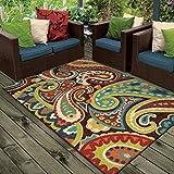 Orian Rugs Indoor/Outdoor Paisley Monteray Multi Area Rug (5'2″ x 7'6″) For Sale