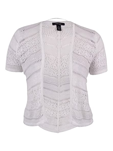 Style & Co. Womens Plus Knit Short Sleeves Shrug Sweater White 0X ...