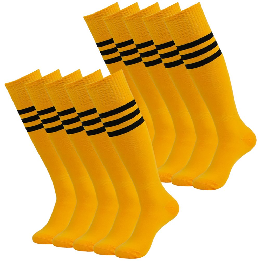 J'colour Unisex Athletic Soccer Socks, Sports Long Tube Socks Over Knee High Volleyball Baseball 10 Pairs Yellow&Black Stripe by J'colour