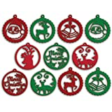 100yellow® Wooden Christmas Ornament Cutout for Christmas Decoration Hanger Pack of 10