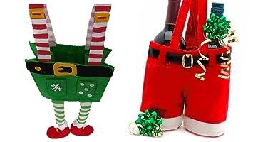 Elf Christmas Gift Bags.Amazon Com Santa Gift Bags Elf Gift Bag Fun Santa Pants