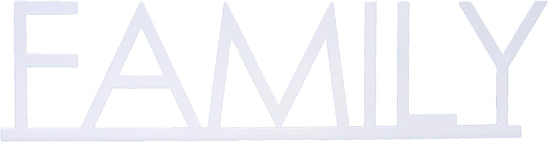 Creative Home & Garden Shelf & Mantle Home Word Art Decor Family (White)