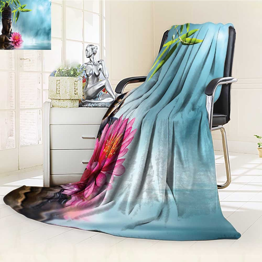 YOYI-HOME Soft Warm Cozy Throw Duplex Printed Blanket Water Lily Flowers Spa Nature and Feng Shui Calm Water Picture Pattern Sky Blue Pink Anti-Static,2 Ply Thick,Hypoallergenic/W59 x H79