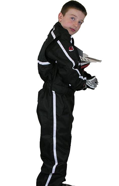 Qtech Kinder RENNANZUG Kart Fehren Motocross BMX Rennoverall Einteilig Insgesamt Schwarz Large