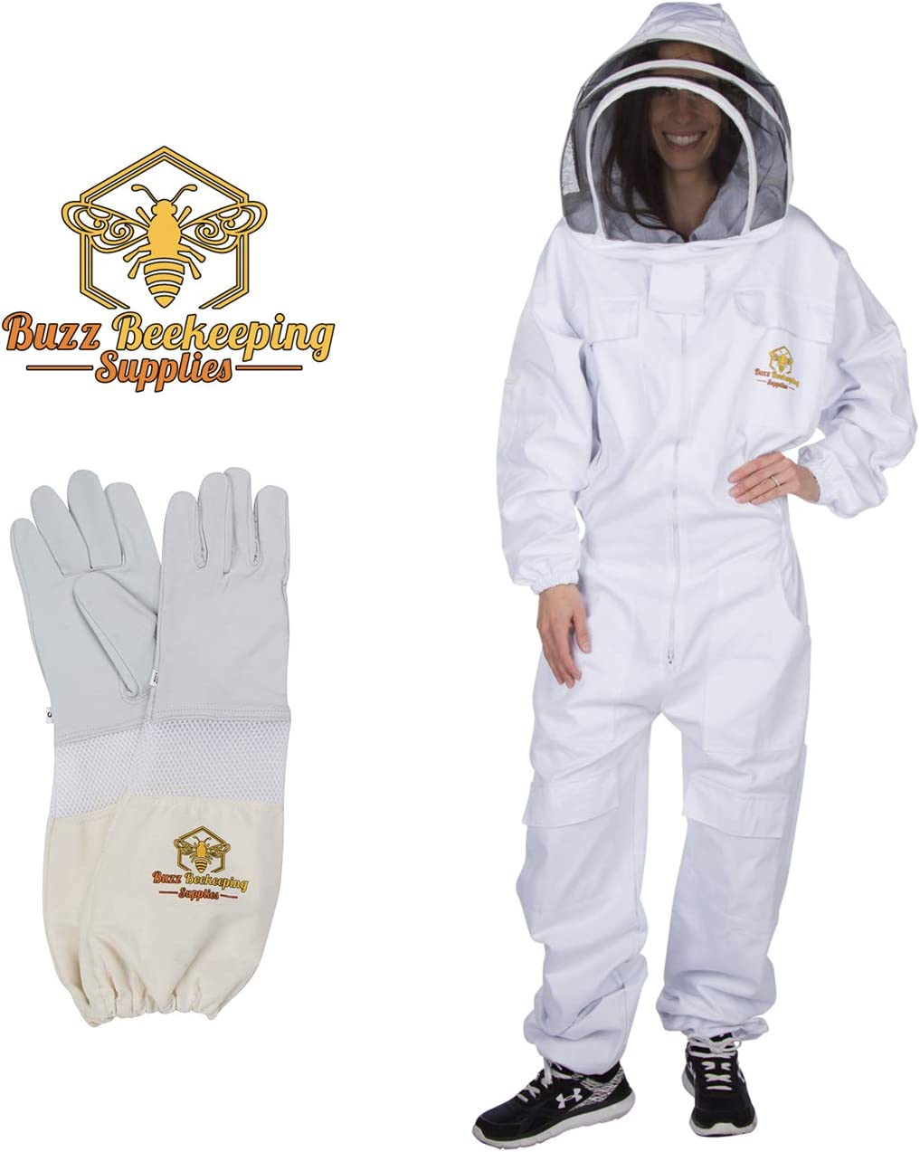 Professional Beekeeping Suit with Goatskin Gloves (1 Pair) and Bee Stickers
