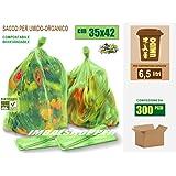 Sacchetti per Umido e Organico Biodegradabili e Compostabili cm 35x42 (6,5 litri) - Scatola da 300 sacchi.