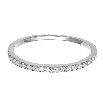 ada555414 PAVOI AAAAA CZ Sterling Silver Cubic Zirconia Stackable Eternity Ring - 5
