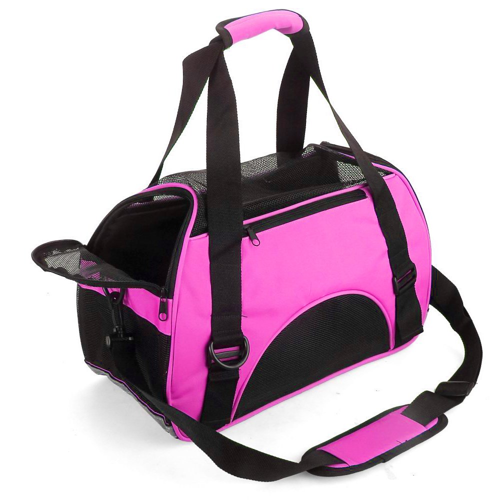 MisteSun Cat Carrier,Soft-Sided Pet Travel Carrier for Small Cats,Dogs Puppy Comfort Portable Foldable Pet Bag Airline Approved Pink(S:15.7'' L×7.9'' H×11.8'' W) (Small)