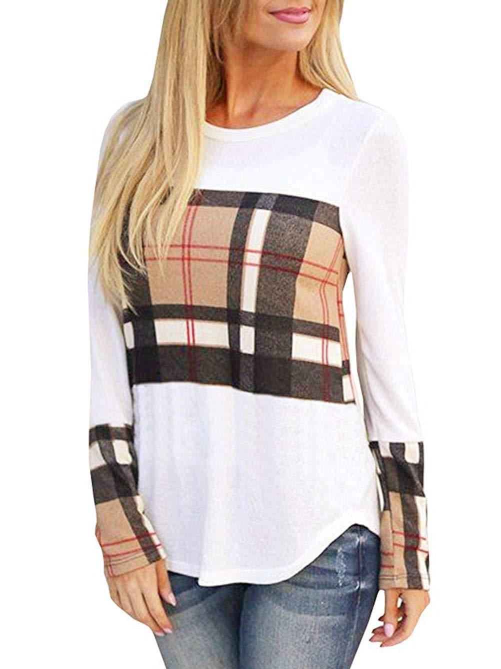 Kaei&Shi Plaid Long Sleeve Shirts for Women Patchwork Blouses Colorblock T Shirt Pattern Womens Top White Small