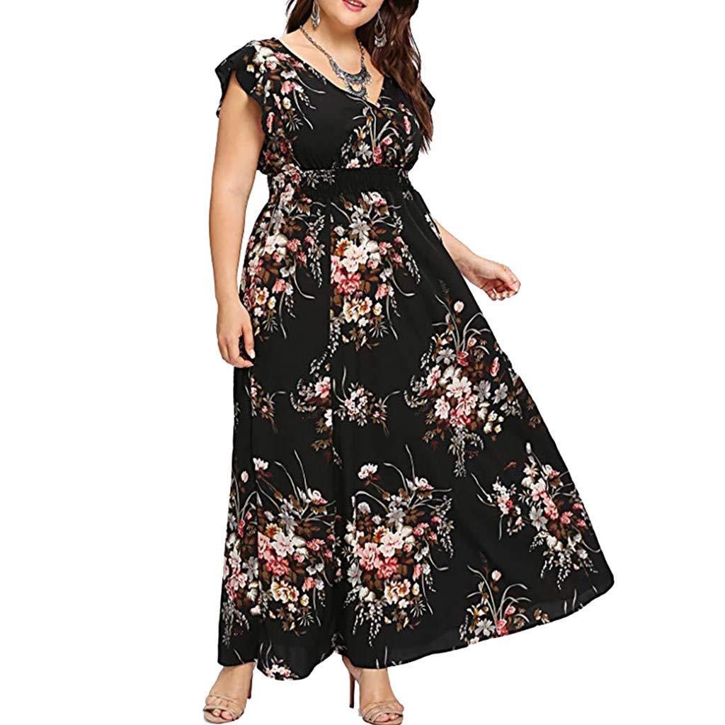 02545e6617 Gibobby Sun Dress for Women Empire Waist Wrap V Neck Floral Print  Sleeveless Boho Chiffon Party Long Maxi Dresses Plus Size at Amazon Women s  Clothing store ...
