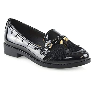 dca9cf221a57 ESSEX GLAM Womens Low Heel Slip On Loafers Ladies Tassel Black Casual Round  Toe School Work Evening Pumps Shoes  Amazon.co.uk  Shoes   Bags