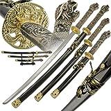 Best Sword Set With Golds - 3 PC Samurai Dragon Katana Sword Set Review