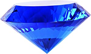 Blue Crystal Glass Diamond Shaped Decoration 60mm Jewel Paperweight,Gift Decoration Idea For Christmas, Thanksgiving And Birthday (Please identify our brand Yarr Store)