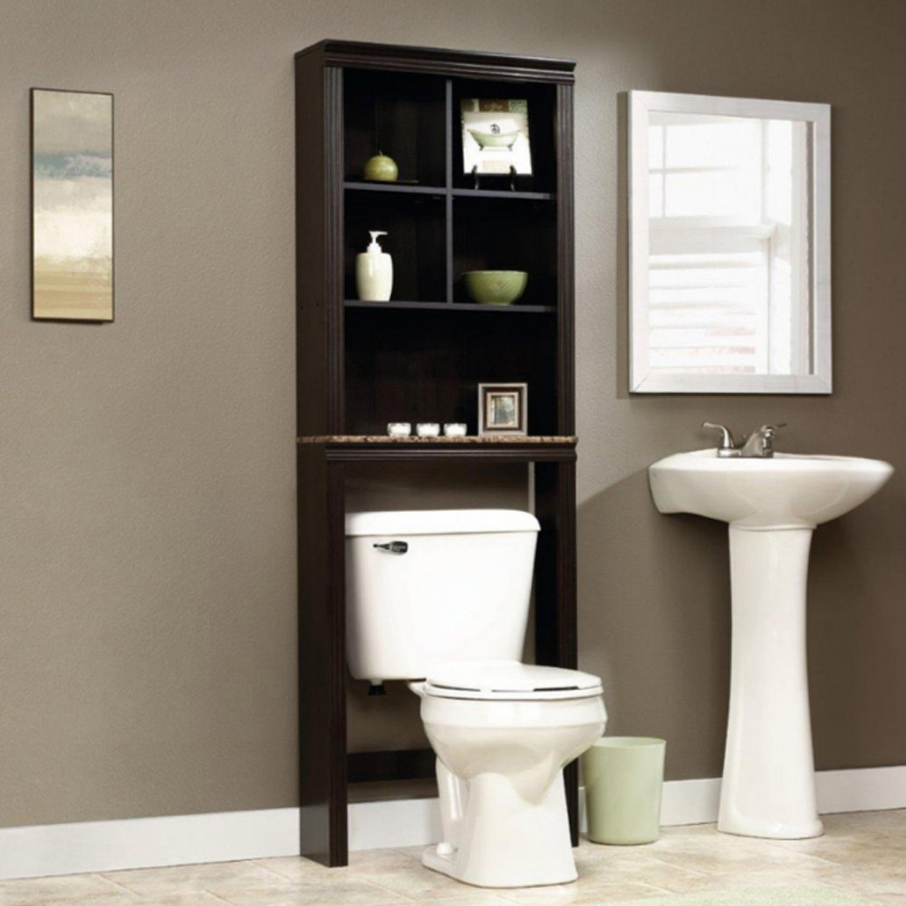 DOVA Toilet Space Saver Brown Bathroom Storage Over Toilet Shelf Espresso Spacesaver Bundle w/ [TM] Matching Trash Can