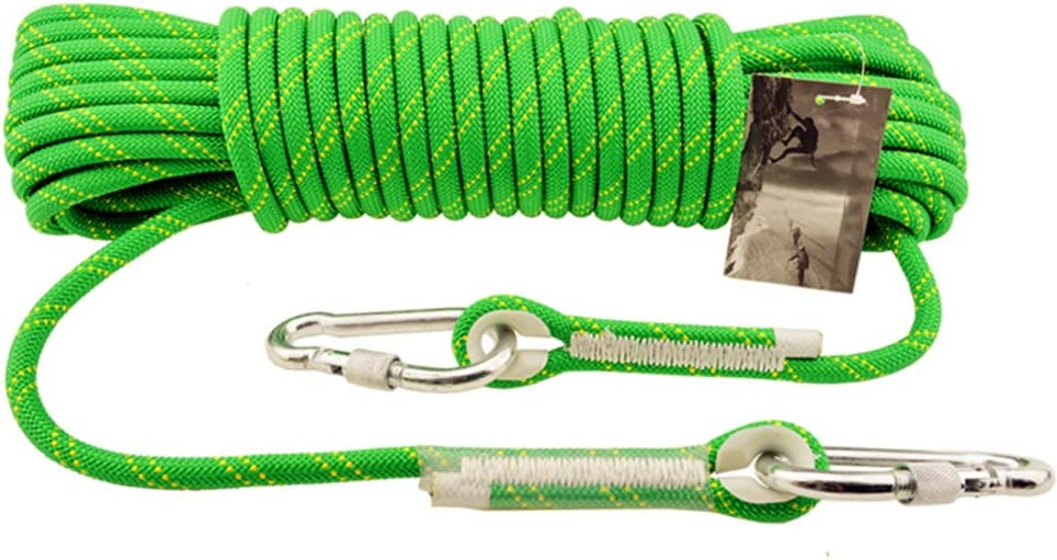 アウトドアクライミングロープ、登山アドベンチャーキャンプネクタイサバイバルラペリング補助ロープ10.5mm、火災緊急救助安全ロープ-緑-緑-20m 緑 20m