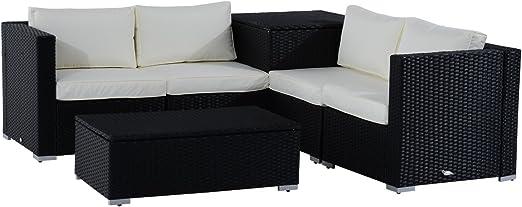 Weaving Modern Garden Table Room Coffee Living New Black Furniture Patio Rattan