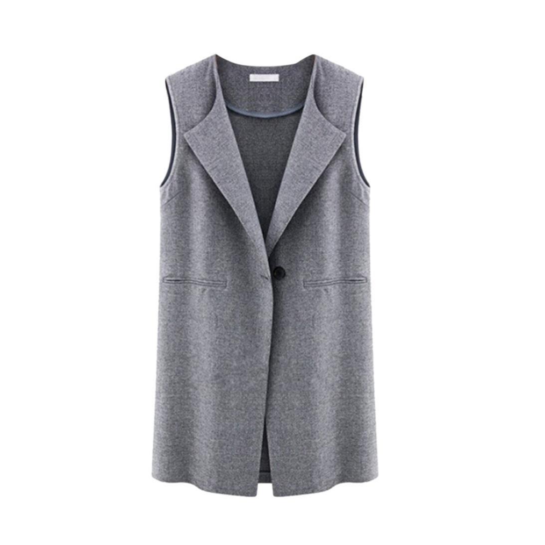Sonnena para mujer sin mangas chaqueta abrigo largo cardigan de Gilets chaleco outwear Coat Cardigan...