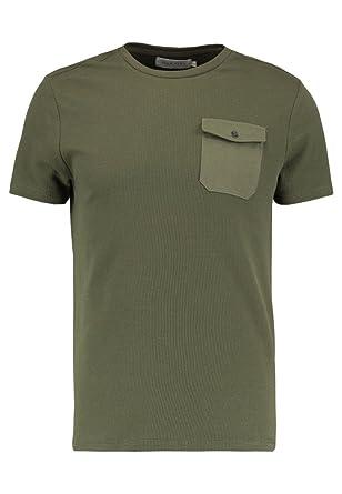 b20b96da1fd5 PIER ONE T-Shirt pour Hommes avec Poche Poitrine et Encolure Ronde - Vert  foncé