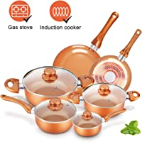 Cookware-Set Nonstick Pots and Pans-Set Copper Pan - KUTIME 10pcs Cookware Set Non-stick Frying Pan Ceramic Coating Stockpot, Cooking Pot, Copper Aluminum Pan with Lid, Gas Induction Compatible