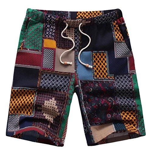 - Winsummer Mens Vintage Plaid Print Short Pants Men's Tropical Casual Hawaiian Beach Board Shorts Swim Trunks (Multicolor,L)