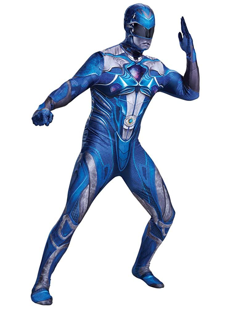 Mens Power Rangers Ranger Bodysuit Costume Attached Gloves & Mask Disguise