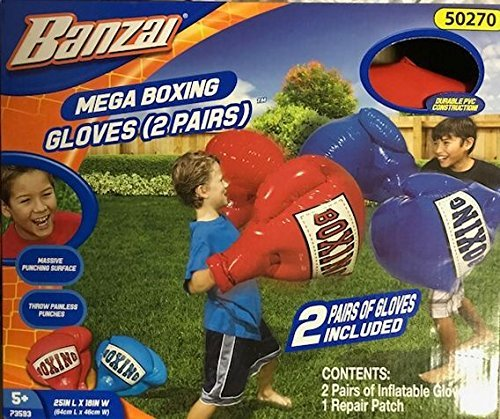Inflatable Punching Gloves (Banzai Inflatable Boxing Gloves 2 pair (1) Red & (1))