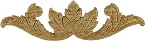 "UNIQANTIQ HARDWARE SUPPLY Upturned Leaf Oak Decorative Applique - 9"" x2-1/2 - Onlay Antique & Modern Furniture Doors, Walls Carved Ornamental Decor | G10-B77-OAK"