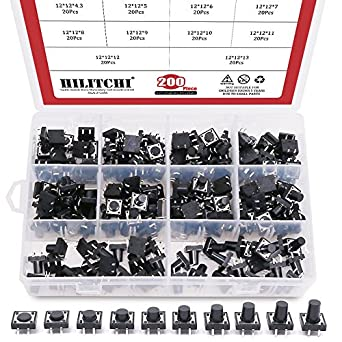 Hilitchi 200-Pcs 12 x 12mm Tactile Push Button Switch Micro Momentary Tact  Assortment Kit - 10 Value / 4 Pins