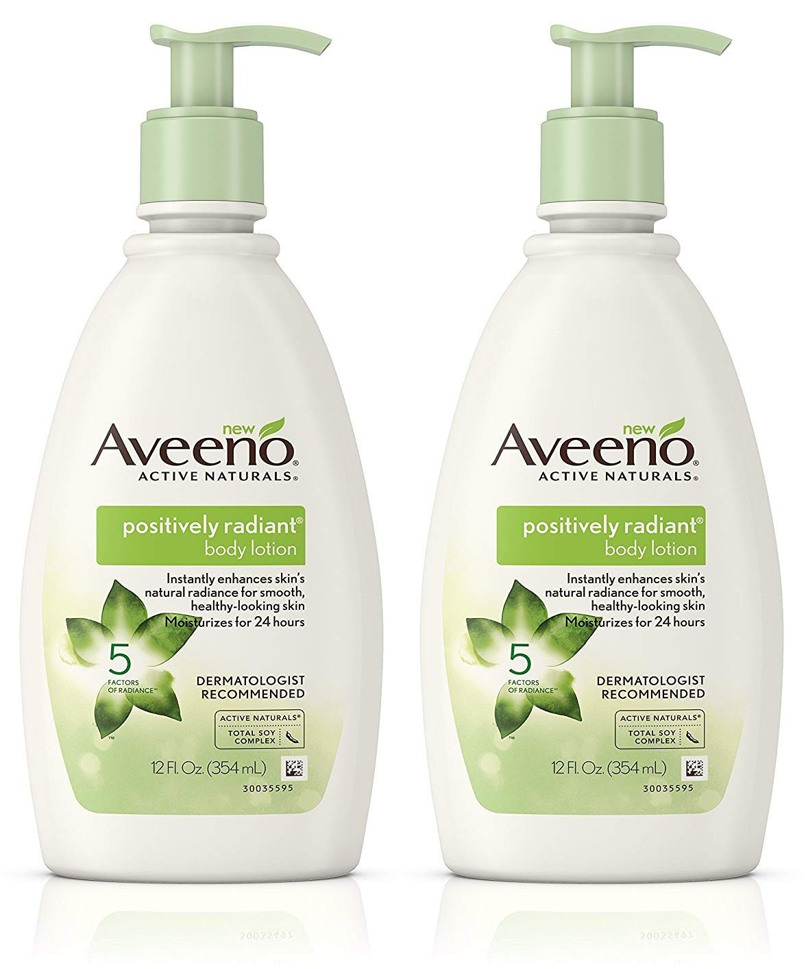 Aveeno Positively Radiant Body Lotion 12 Ounce Pump (354ml) (2 Pack)