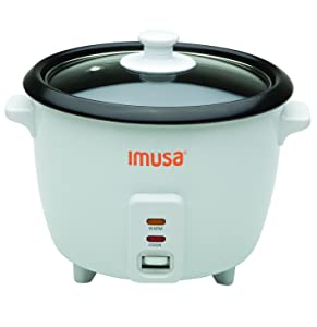IMUSA USA GAU-00011 Electric Nonstick Rice Cooker 3-Cup (Uncooked) 6-Cup (Cooked), White