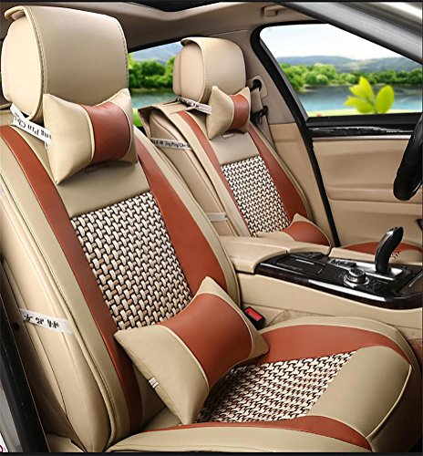 GAOFEI Car Seat Cover Cushions?Universal Front Rear Car Seat Cushion Cover 10pcs Full Set PU leather , brown