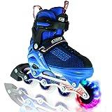 Boy's LED Adjustable Inline Skates by Crazy Skates   Light up wheels   Adjusts to fit 4 Shoe Sizes   Blue with Mesh Boot   Pro Model 168