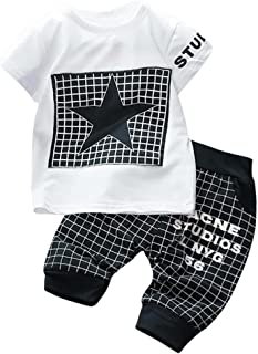 UOMOGO® Neonato Strisce Stelle Gilet T-Shirt Cime + Griglia Pantaloncini Bambino Abiti Set 0-24 Mesi